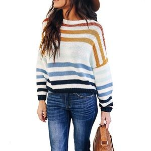 🆕Color block Rainbow Sweater